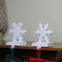 "Set of 2 White Snowflake Glittered Christmas Stocking Holder 9.5"""