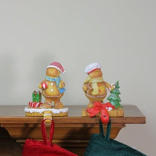 Set of 2 Glitter Accented Gingerbread Christmas Stocking Holders 5.25""