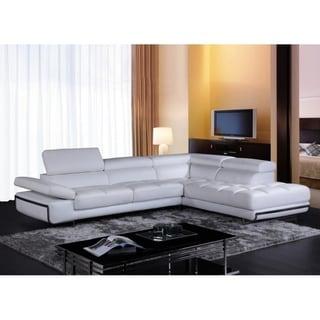 Divani Casa Myst Mini Modern White Eco Leather Sectional Sofa