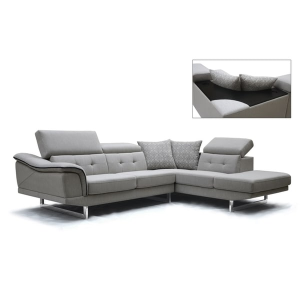 Divani Casa Gaviota Modern Gray Fabric Sectional Sofa