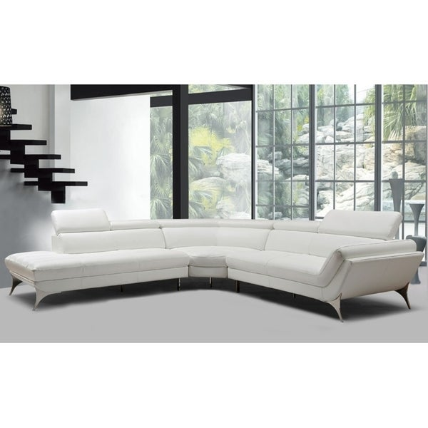 Shop Divani Casa Graphite Modern White Leather Sectional Sofa - On ...