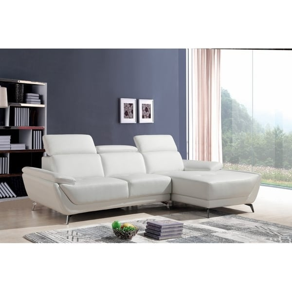 Shop Divani Casa Sterling Modern White Eco-Leather Sectional Sofa ...