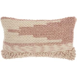 Mina Victory Handmade Blush Moroccan Lumbar Pillow (14 -Inch x 24 -Inch)