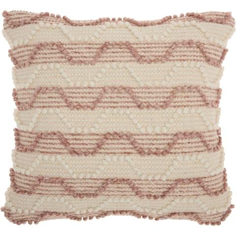 Mina Victory Handmade Striped Blush Throw Pillow (20 -Inch x 20 -Inch)