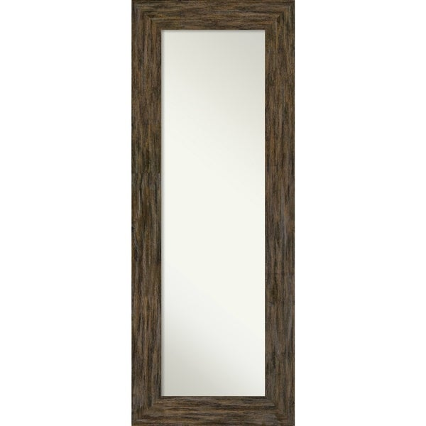On The Door Full Length Wall Mirror, Fencepost Brown: Outer Size 21 x 55-inch