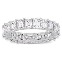 Miadora 18k White Gold 5ct TDW Emerald-Cut Diamond Full-Eternity Band