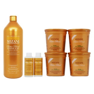 Mizani Butter Blend Rhelaxer Fine 4Kit and Sensitive Scalp Balance Hair Bath