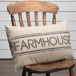 Charcoal Farmhouse Striped Pillow 14x22