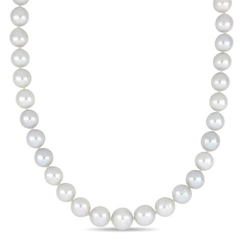 Miadora South Sea Cultured Pearl Graduated Necklace with 14k White Gold Diamond Ball Clasp (9-12mm)