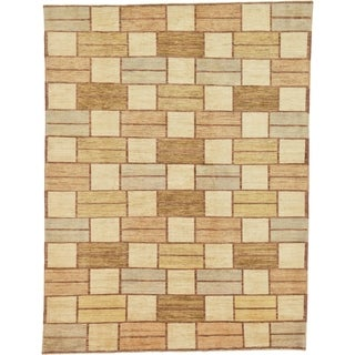 Hand Knotted Modern Ziegler Wool Area Rug - 6' 7 x 8' 8