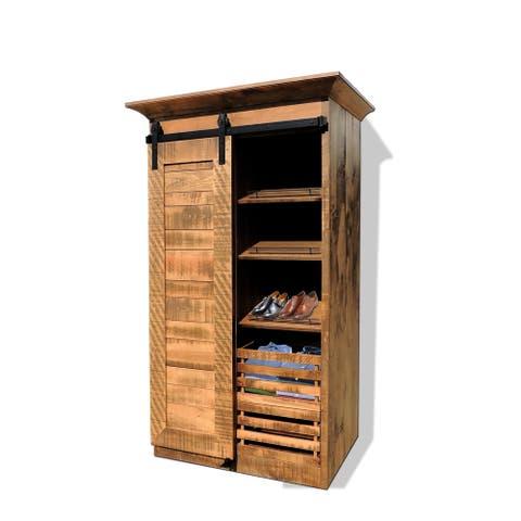 Rustic Wardrobe w/Sliding Barn Door & Removable Storage Crates
