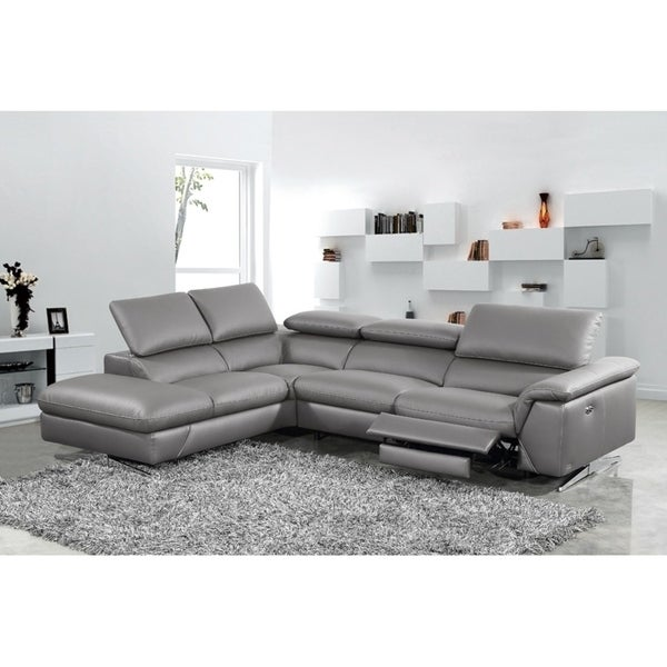 Shop Divani Casa Maine Modern Dark Grey Eco Leather Sectional Sofa W