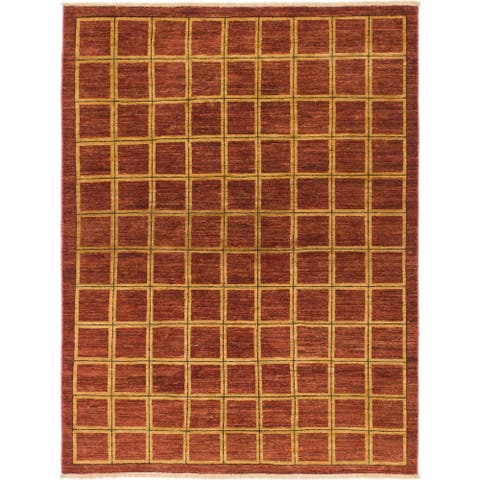 Hand Knotted Modern Ziegler Wool Area Rug - 4' 10 x 6' 5