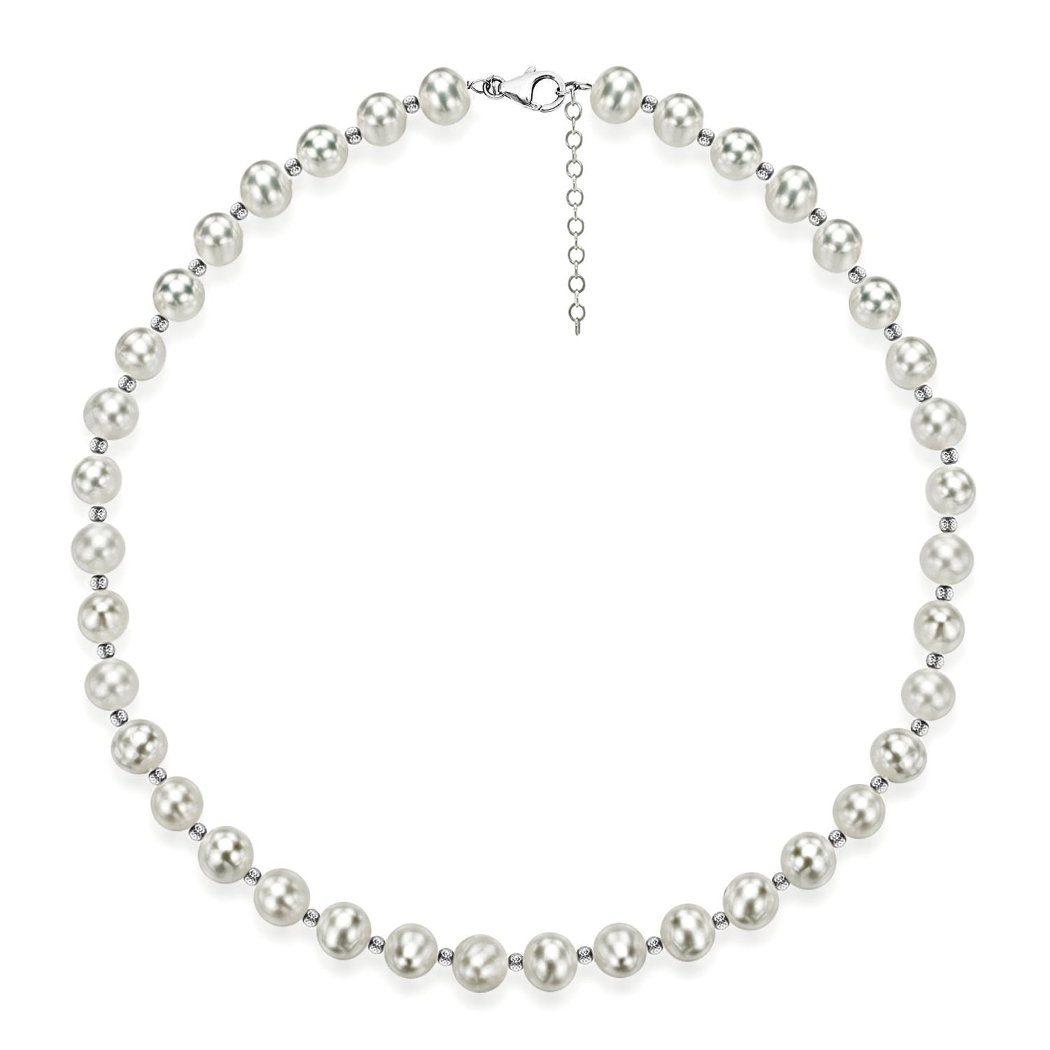 925 Sterling Silver Multi-color Freshwater Cultured Pearl Necklace in Silver Choice of Lengths 18 and 7-8mm 8-9mm