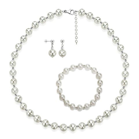 DaVonna Sterling Silver 7-8mm Freshwater Pearl Necklace, Bracelet and Earrings Jewelry Set