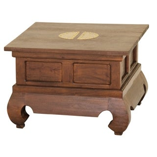 """Fine Handcrafted Solid Mahogany Wood Ming End Table - 24"""" x 24"""" x 16""""/24"""" x 24"""""""