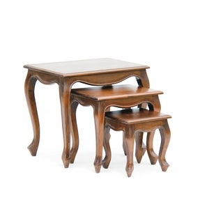"""Fine Handcrafted Solid Mahogany Queen Anne Nesting Tables - Set of 3 - 24"""" x 18"""" x 22""""/24"""" x 18"""""""
