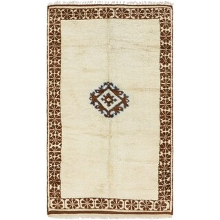 Hand Knotted Moroccan Semi Antique Wool Area Rug - 4' 10 x 8' 6