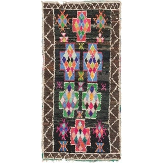 Hand Knotted Moroccan Semi Antique Wool Runner Rug - Multi - 3' 10 x 7' 10