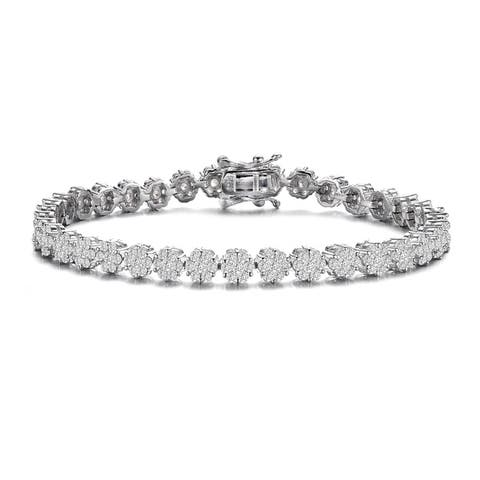 Collette Z Sterling Silver with Rhodium Plated Clear Round Cubic Zirconia Flower Design Tennis Bracelet
