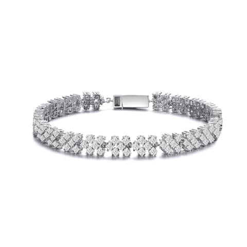 Collette Z Sterling Silver with Rhodium Plated Clear Princess Cubic Zirconia Cluster Tennis Bracelet