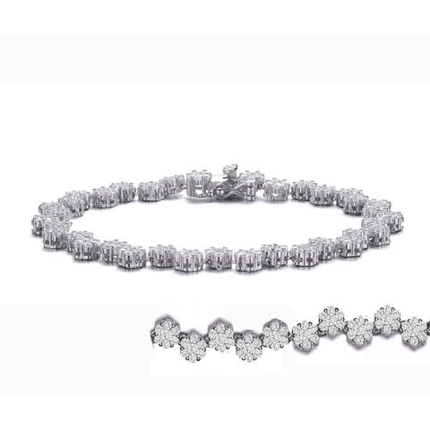 Collette Z Sterling Silver with Rhodium Plated Clear Round Cubic Zirconia Cluster Flower Link Bracelet