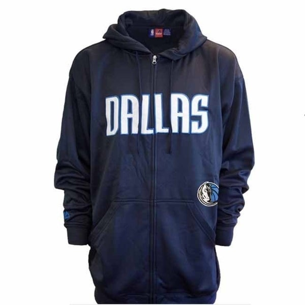 Majestic Mens Dallas Mavericks Delay Full Zip Poly Fleece Hoodie - Blue