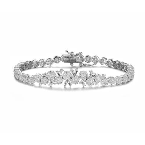Collette Z Sterling Silver with Rhodium Plated Clear Marquise and Round Cubic Zirconia Flower Design Tennis Bracelet