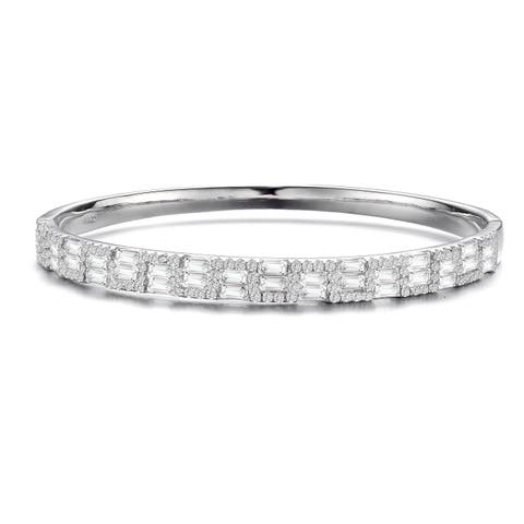 Collette Z Sterling Silver with Rhodium Plated Clear Round and Emerald Cubic Zirconia Two-Row Accent Bangle Bracelet