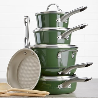 Link to Ayesha Home Collection Porcelain Enamel 12pc Cookware Set, Basil Green Similar Items in Cookware