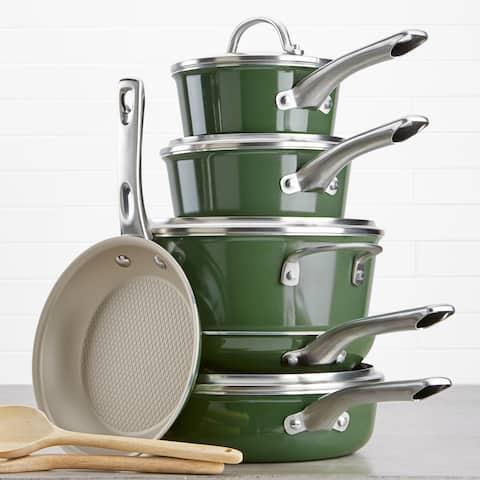 Ayesha Home Collection Porcelain Enamel 12pc Cookware Set, Basil Green