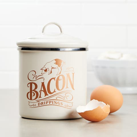 "Ayesha Collection Bacon Grease Can, 4"" x 4"", French Vanilla"