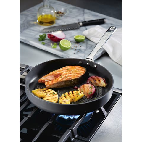 Anolon Authority Hard-Anodized Nonstick Deep Round Grill Pan, 11-Inch