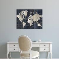 Easy Art Prints Wild Apple's 'Old World Map Blue Crop' Premium Canvas Art