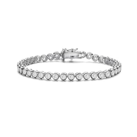 Collette Z Sterling Silver with Rhodium Plated Clear Round Cubic Zirconia Milgrain Bezel Tennis Bracelet