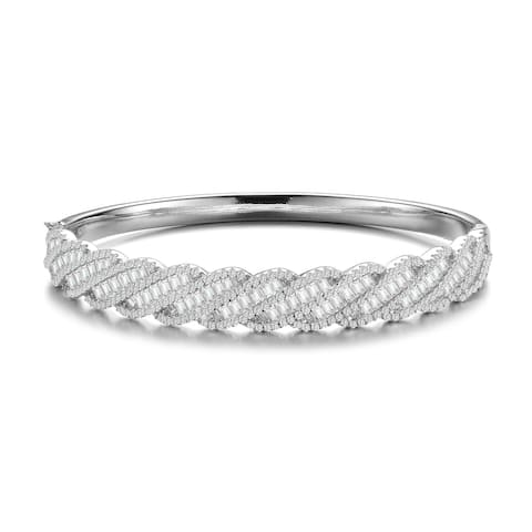 Collette Z Sterling Silver with Rhodium Plated Clear Round and Emerald Cubic Zirconia Diagonal Pave Bangle Bracelet
