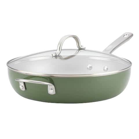 "Ayesha Home Collection Porcelain Enamel 12"" Deep Skillet, Basil Green"