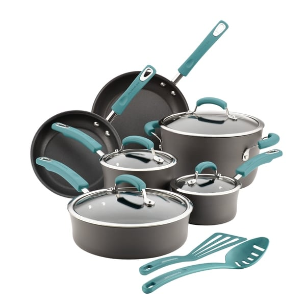 rachael ray hard anodized 12 piece rachael ray hardanodized nonstick 12piece cookware set gray shop