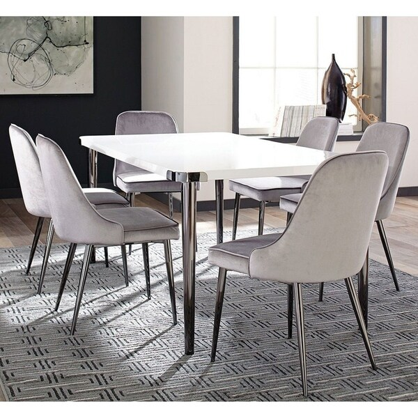 Shop White Glossy Top/Grey Velvet Chairs Wood/Metal Modern ...