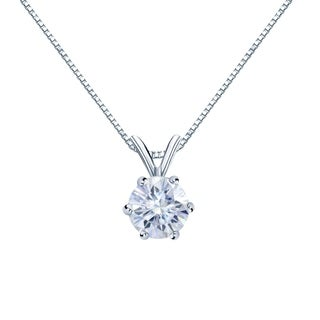 Platinum 2ct Round 6 Prong Solitaire Moissanite Necklace by Auriya - 2.00ct