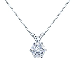 Auriya Round Solitaire Moissanite Necklace 1 1 4ct DEW 6 Prong Basket 18k Gold 7 Mm
