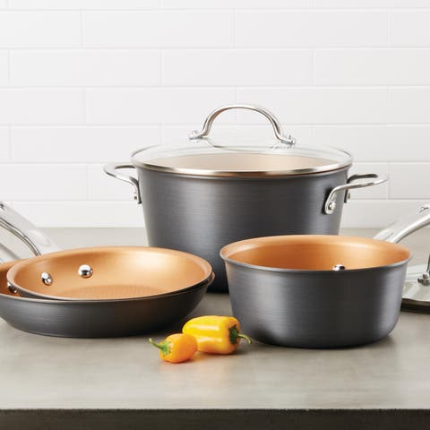 Ayesha Home Collection Hard-Anodized 2-Quart Nonstick Saucepan, Gray