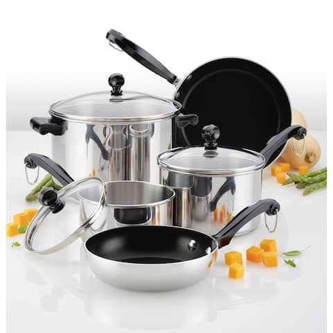 Farberware Classic Series Stainless Steel Nonstick 10pc Cookware Set