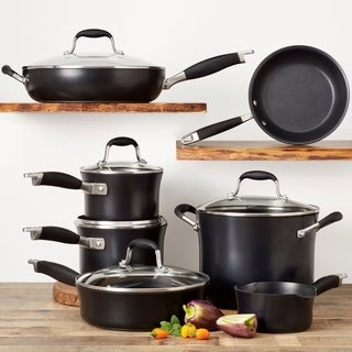 Anolon Advanced Onyx Hard-Anodized 11pc Cookware Set with Tools,Black