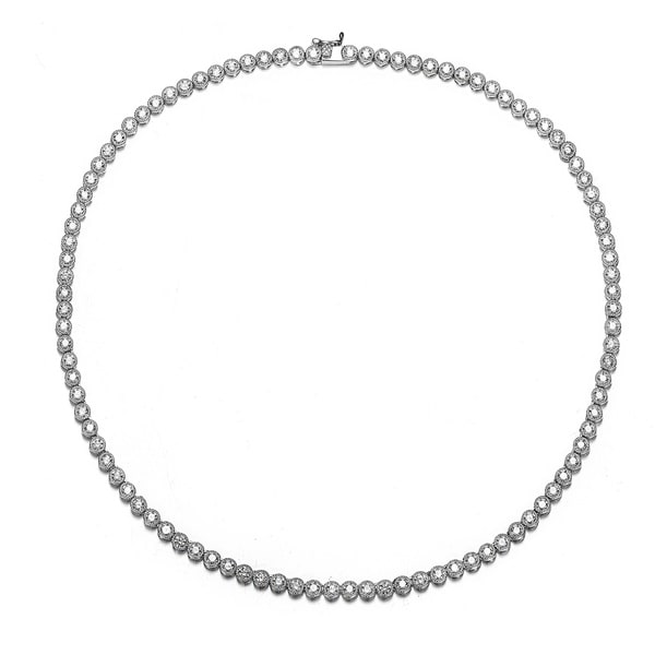 Collette Z Sterling Silver with Rhodium Plated Clear Round Cubic Zirconia Milgrain Bezel Tennis Necklace. Opens flyout.