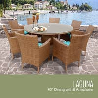 Laguna 60 Inch Outdoor Patio Dining Table with 8 Chairs w/ Arms
