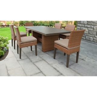 Laguna Rectangular Outdoor Patio Dining Table with 6 Armless Chairs