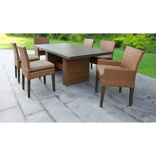 Laguna Rectangular Outdoor Patio Dining Table with with 4 Armless Chairs and 2 Chairs w/ Arms