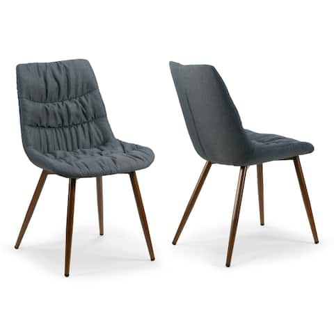 Set of 2 Amita Grey Dining Chair with Pleats and Brown Metal Legs