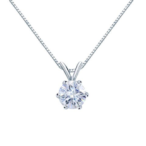 Auriya Round Solitaire Moissanite Necklace 1 1/4ct DEW 6-prong Basket 18k Gold - 7 mm